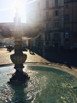 Water fountain in piazza of Ariccia Italy